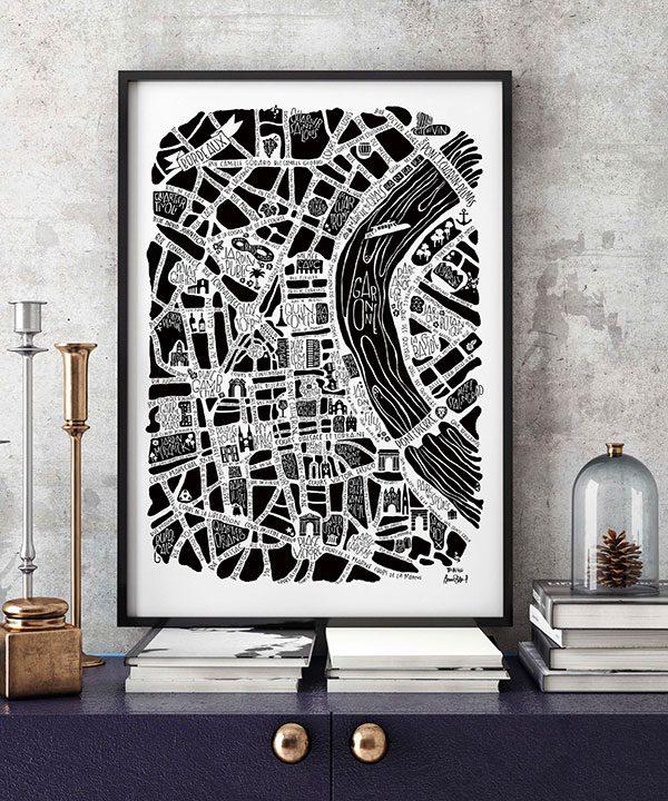 plan de ville de Bordeaux illustré sur un poster