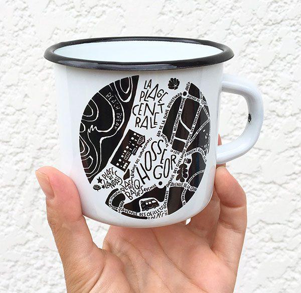 plan de ville d'Hossegor illustré sur un mug