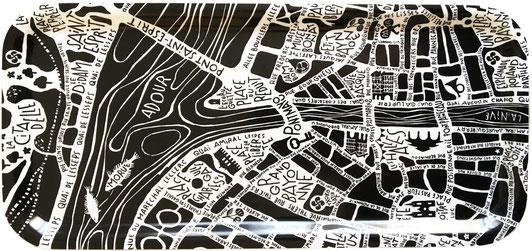 plan de ville de Bayonne illustré sur un plateau