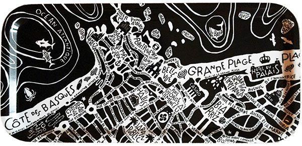 plan de ville de Biarritz illustré sur un plateau