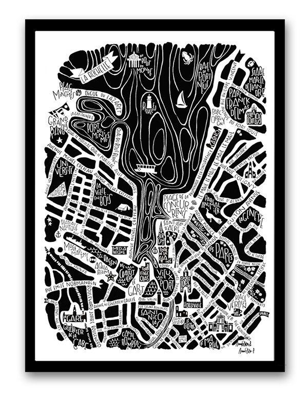 plan de ville de La Rochelle illustré sur un poster
