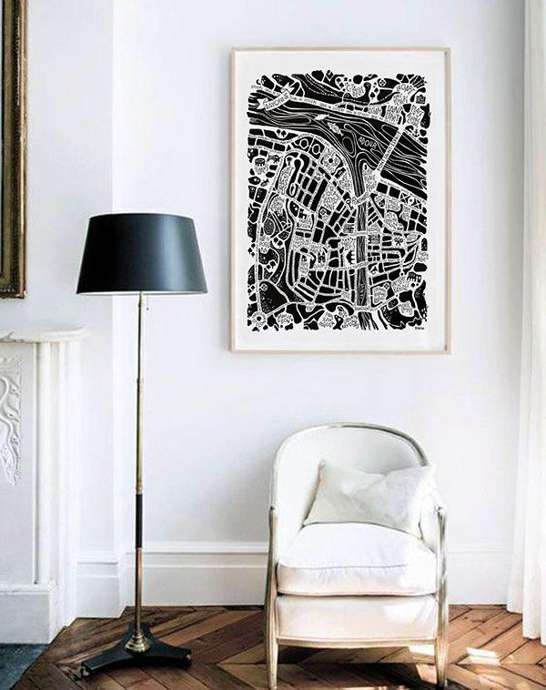 plan de ville de Bayonne illustré sur un poster