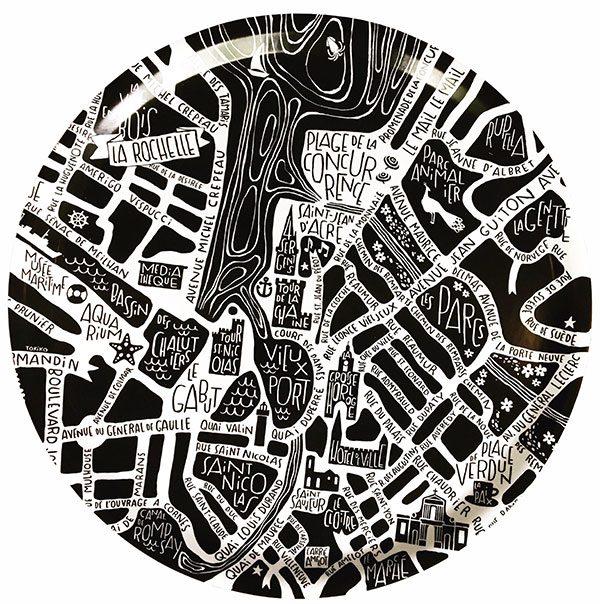 plan de ville de La Rochelle illustré sur un plateau