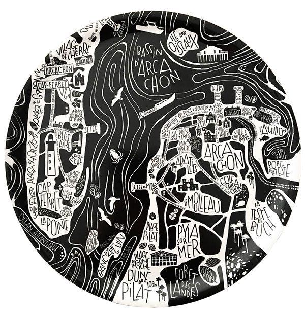 plan de ville de Arcachon-Cap Ferret illustré sur un plateau
