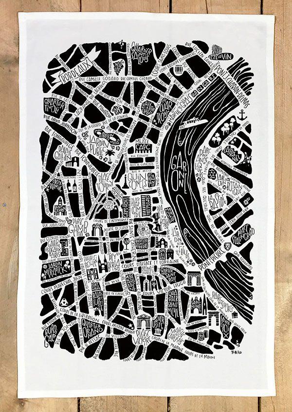 plan de ville de Bordeaux illustré sur un torchon