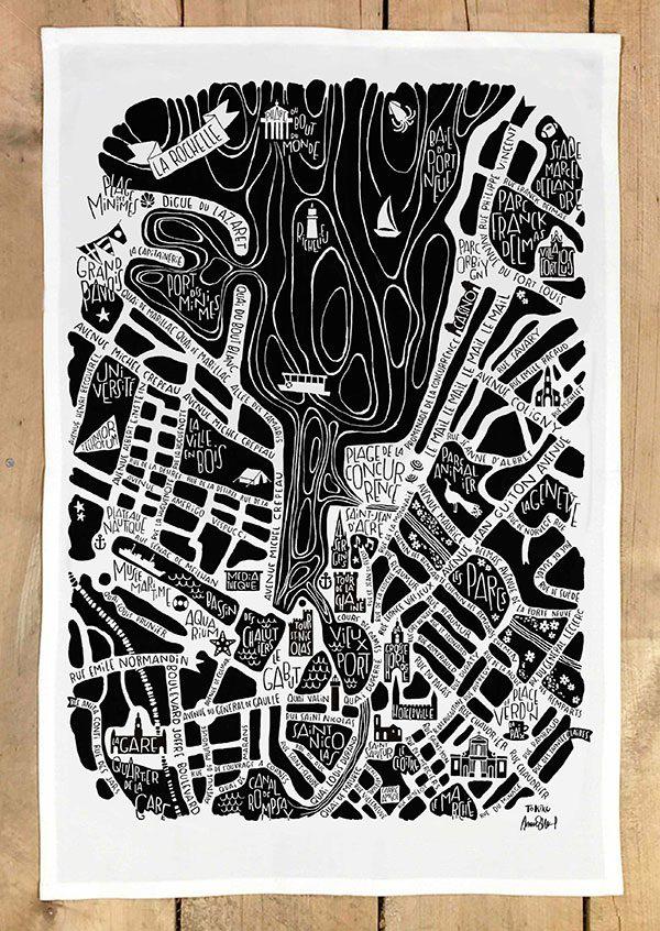 plan de ville de La Rochelle illustré sur un torchon