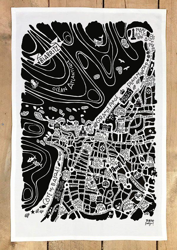 plan de ville de Biarritz illustré sur un torchon