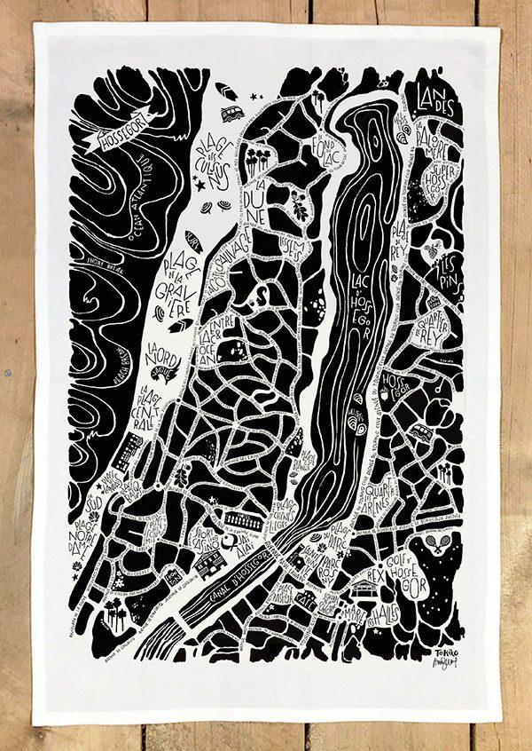 plan de ville de Hossegor illustré sur un torchon